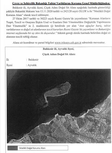 Balıkesir'de Ayvalık ve Marmara'da bazı Doğal Sit alanları için flaş karar